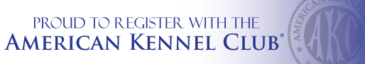 Proud to Register with the American Kennel Club Logo and Link