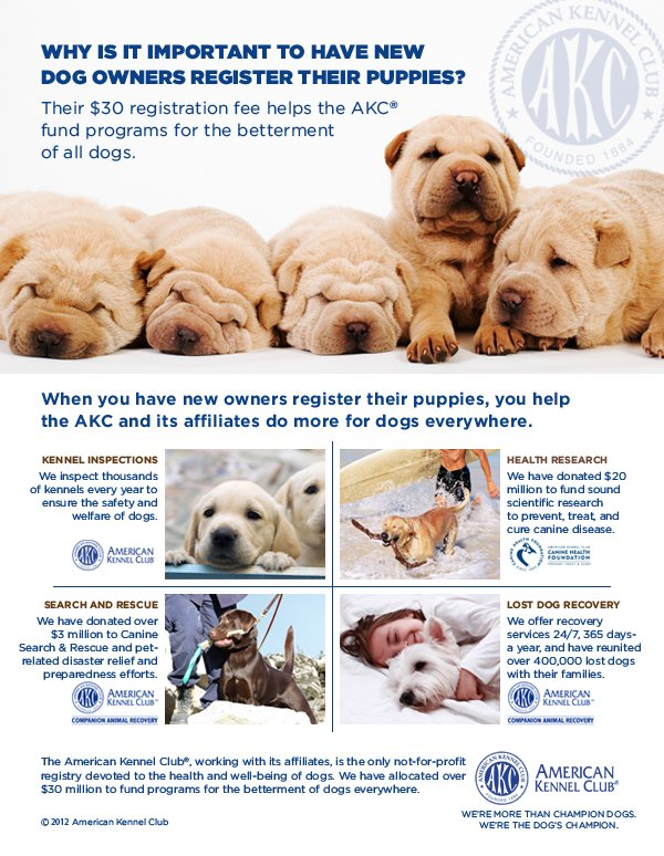 You have received this email because you are an AKC Breeder.  This email has been sent to you from the American Kennel Club.       Remember to share with your new puppy owners why it is important to register their puppies.    Their $20 registration fee helps the AKC and its affiliates do more for dogs everywhere.    KENNEL INSPECTIONS:  The AKC inspect thousands of kennels every year to ensure the safety and welfare of dogs.    HEALTH RESEARCH:  The AKC and the American Kennel Club Canine Health Foundation donate $20 million to Fund sound scientific research to prevent, treat and cure canine disease.      SEARCH AND RESCUE:  The AKC and the American Kennel Club Companion Animal Recovery have donated over $3 million to Canine Search & Rescue and pet-related disaster relief and preparedness efforts.    LOST DOG RECOVERY:  The AKC and the American Kennel Club Companion Animal Recovery offer recovery services 24/7, 365 days-a-year, and have reunited over 400,000 lost dogs with their families.     The American Kennel Club, working with its affiliates, is the only not-for-profit registry devoted to the health and well-being of dogs.  We have allocated over $30 million to fund programs for the betterment of dogs everywhere.     American Kennel Club:  We're more than Champion Dogs - We're the dog's champion.
