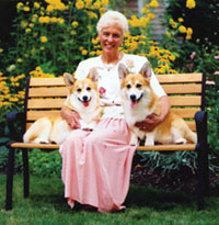 Anne Bowes with Pembrokee Welsh Corgis