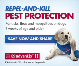 Repel-and-kill Pest Protection for ticks, fleas and mosquitoes on dogs 7 weeks of age and older