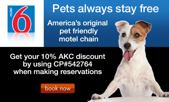 Motel 6: America's original pet friendly motel chain. Get your 10% AKC discount by using CP#542764 when making reservations.