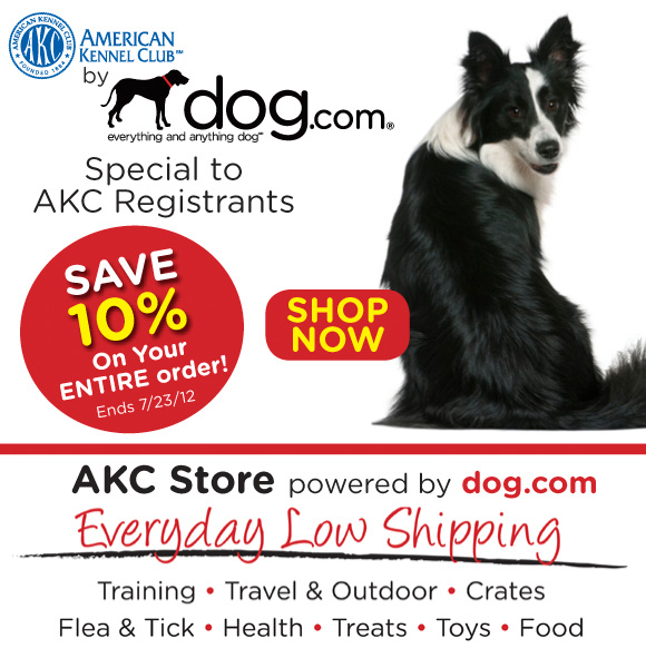 Special to AKC. Get a 10% off entire order at dog.com